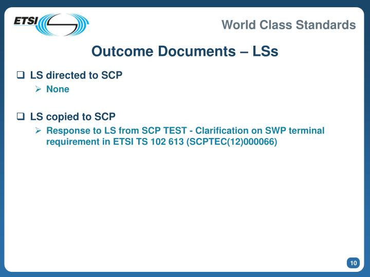 Outcome Documents – LSs