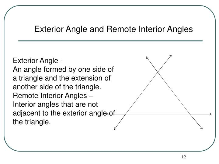 Exterior Angle and Remote Interior Angles