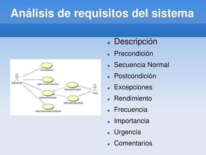 Análisis de requisitos del sistema