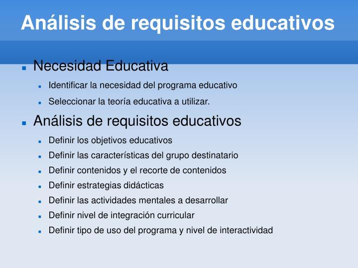 Análisis de requisitos educativos