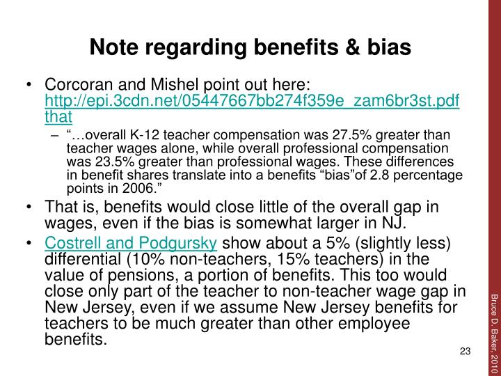 Note regarding benefits & bias