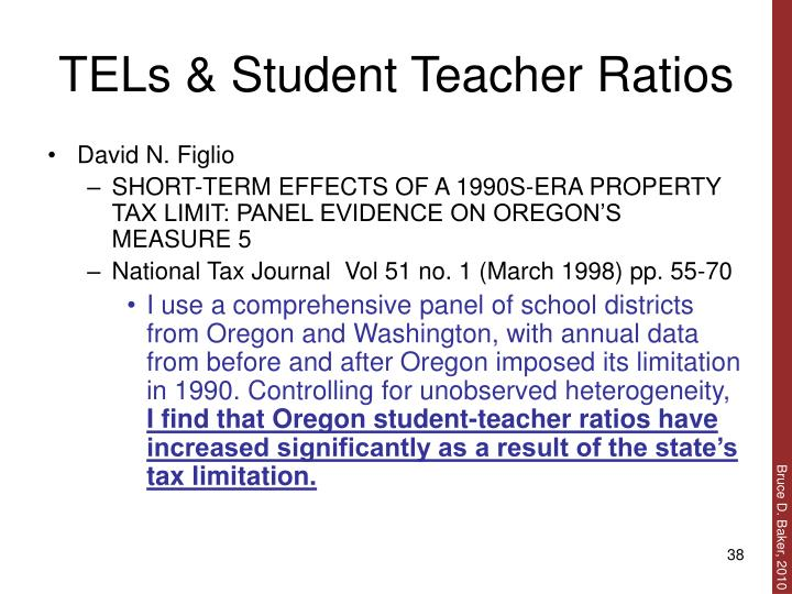 TELs & Student Teacher Ratios
