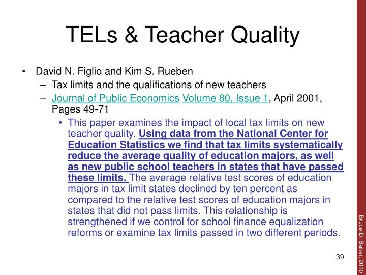 TELs & Teacher Quality