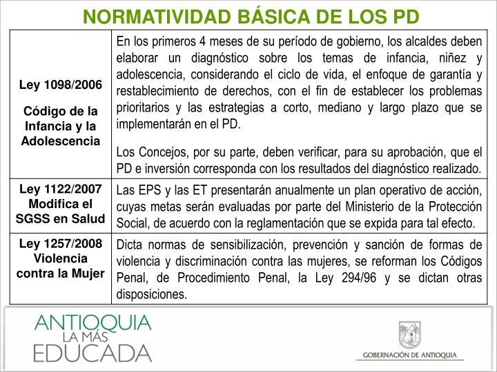 NORMATIVIDAD BÁSICA DE LOS PD