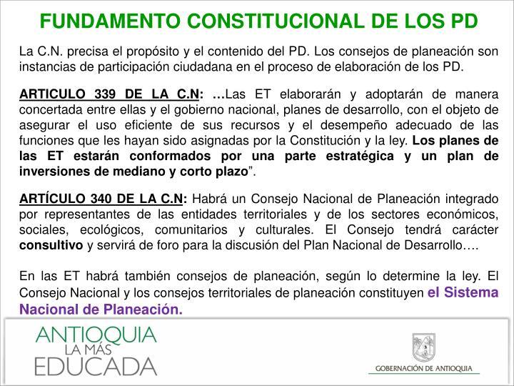 FUNDAMENTO CONSTITUCIONAL DE LOS PD