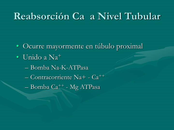 Reabsorción Ca  a Nivel Tubular