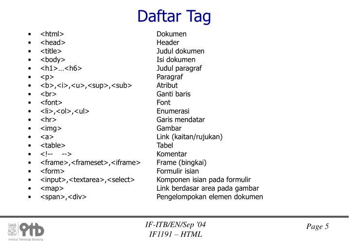 Daftar Tag