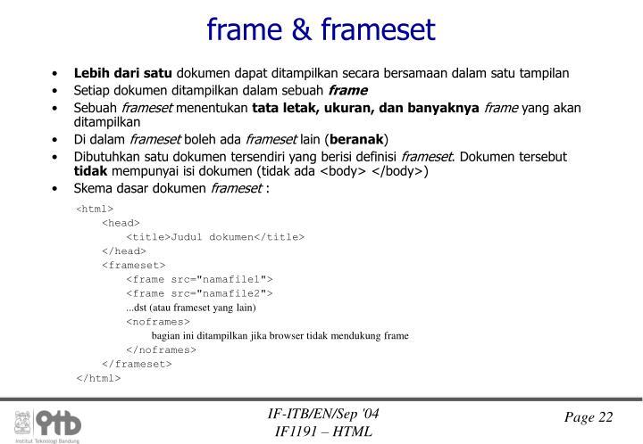 frame & frameset