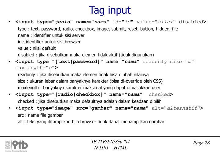 Tag input