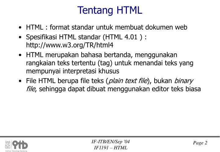 Tentang HTML
