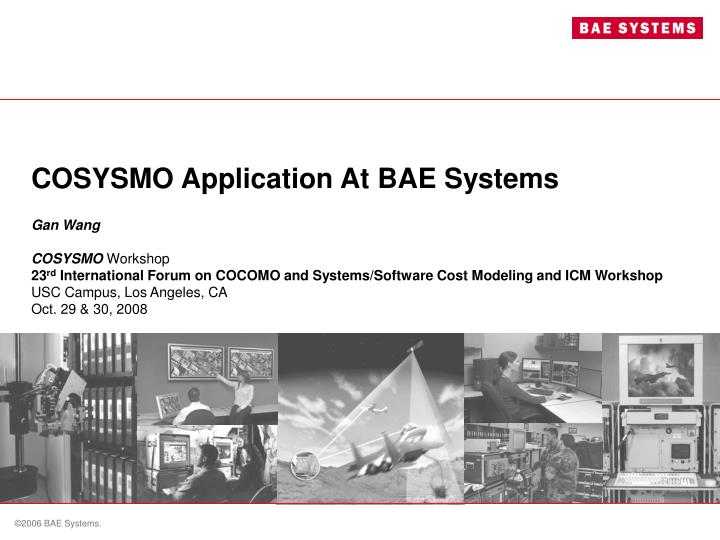 Cosysmo application at bae systems