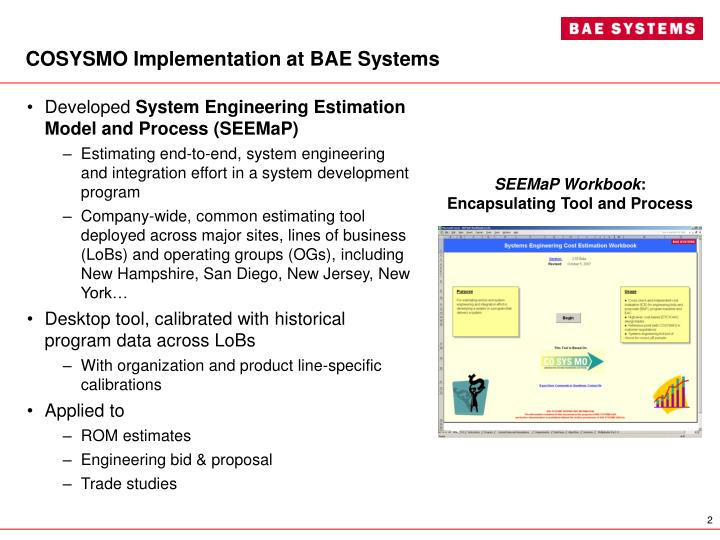 COSYSMO Implementation at BAE Systems