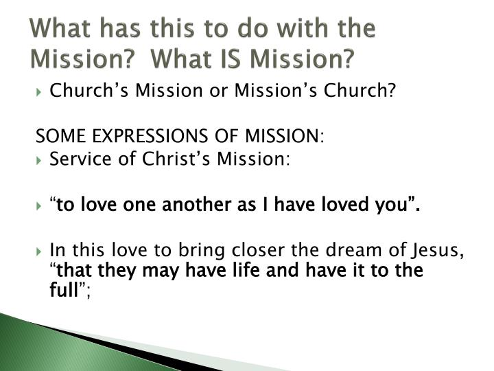 What has this to do with the Mission?  What IS Mission?