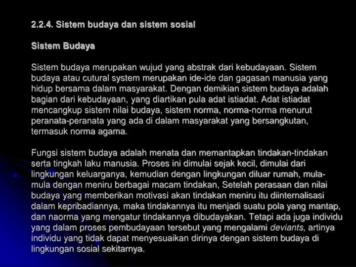 2.2.4. Sistem budaya dan sistem sosial