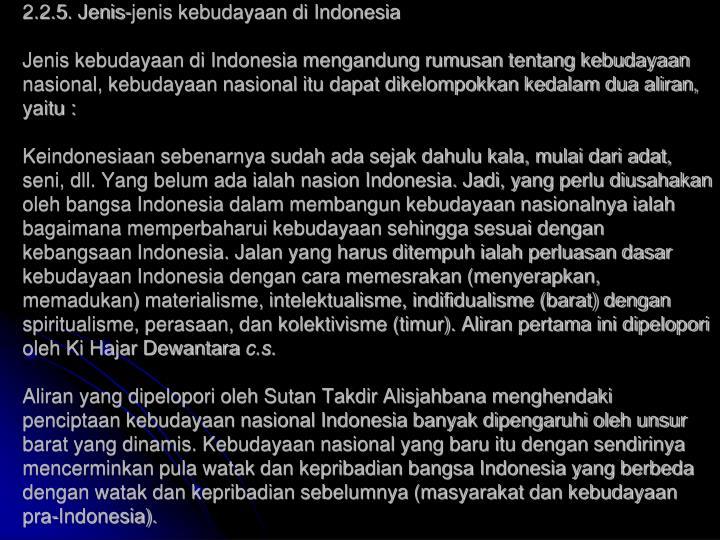 2.2.5. Jenis-jenis kebudayaan di Indonesia