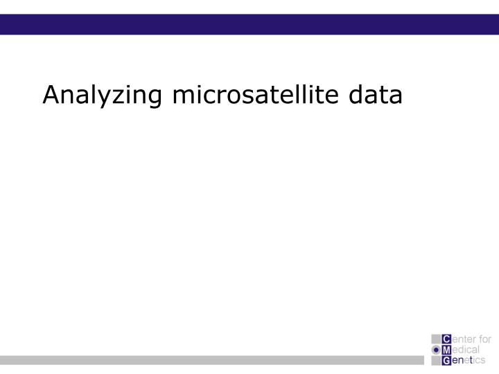 Analyzing microsatellite data