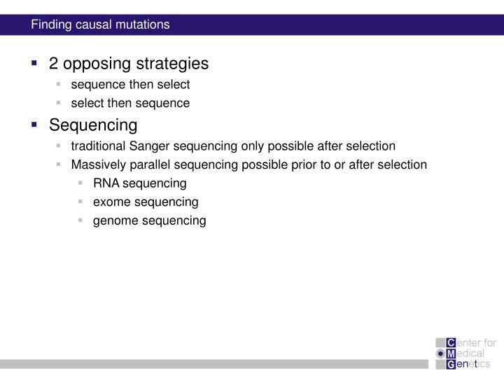 Finding causal mutations