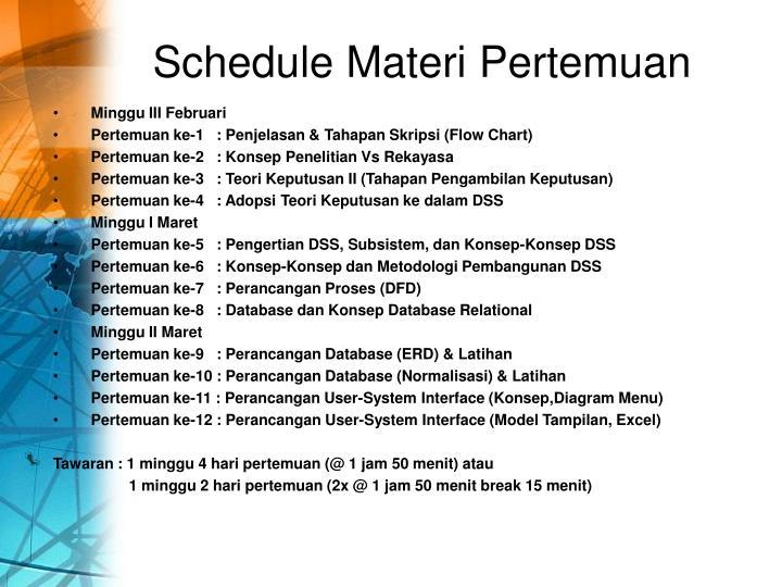 Schedule Materi Pertemuan