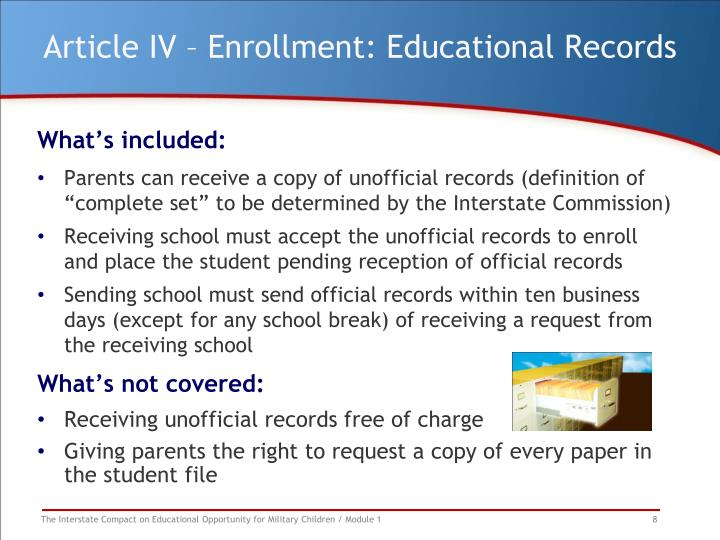 Article IV – Enrollment: Educational Records