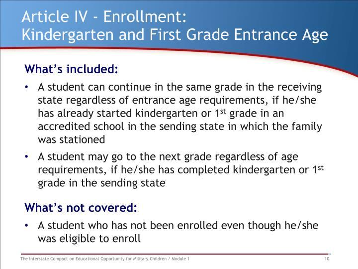Article IV - Enrollment: