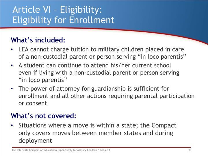 Article VI – Eligibility: