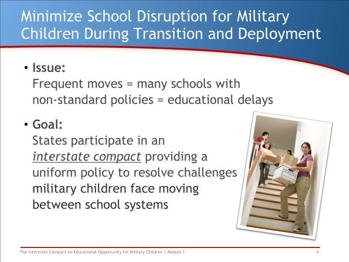 Minimize School Disruption for Military Children During Transition and Deployment