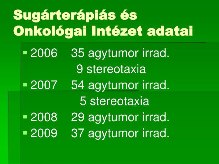 Sugárterápiás és Onkológai Intézet adatai