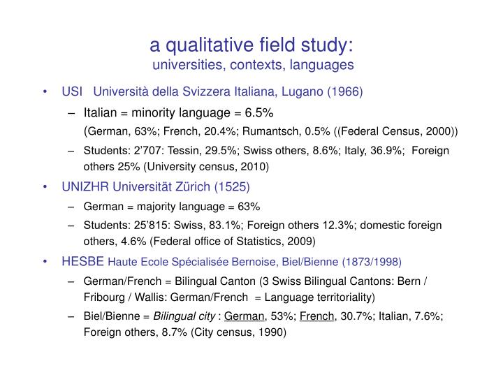 a qualitative field study:
