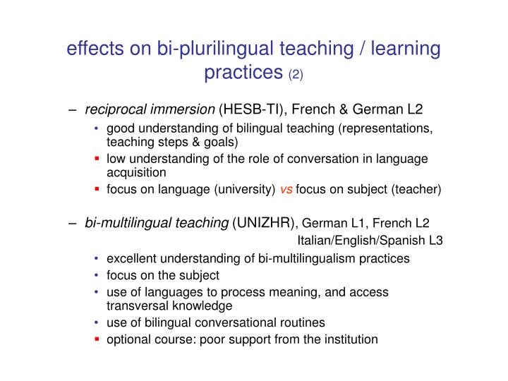 effects on bi-plurilingual teaching / learning