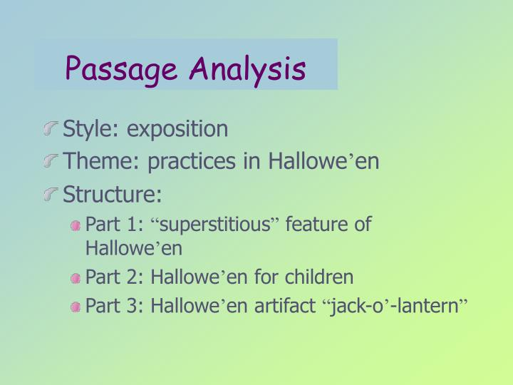 Passage Analysis