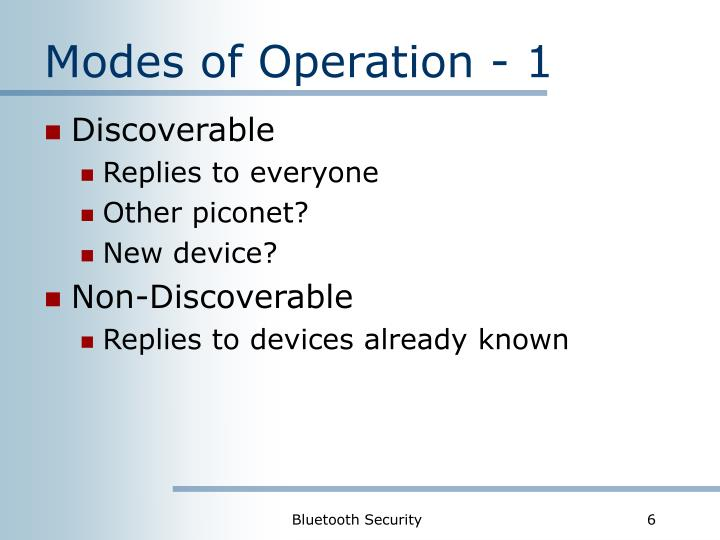 Modes of Operation - 1