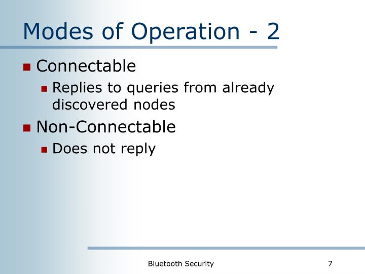 Modes of Operation - 2