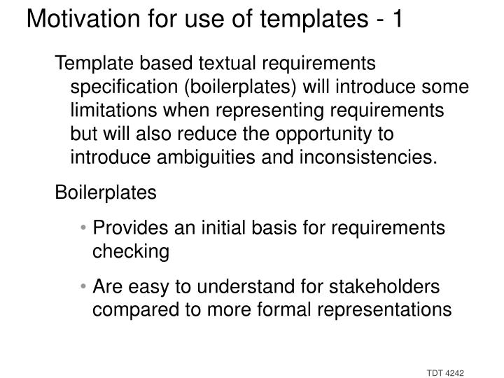 Motivation for use of templates - 1