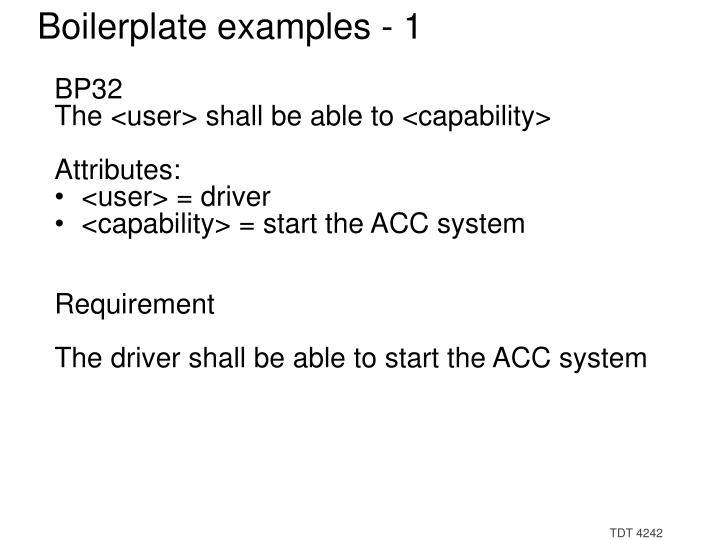 Boilerplate examples - 1
