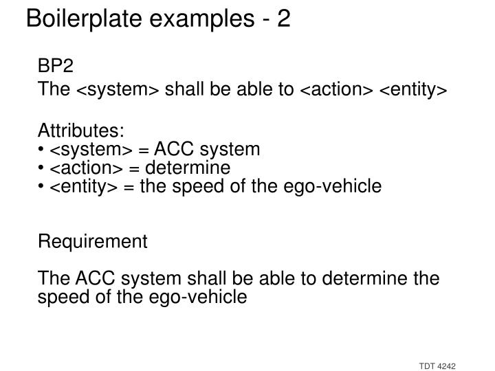 Boilerplate examples - 2
