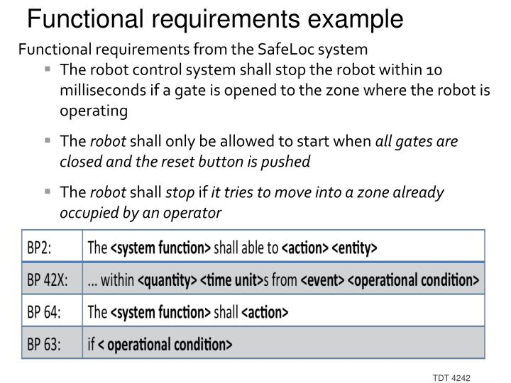 Functional requirements example