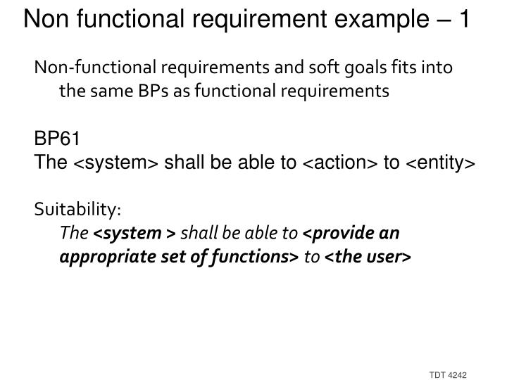 Non functional requirement example – 1