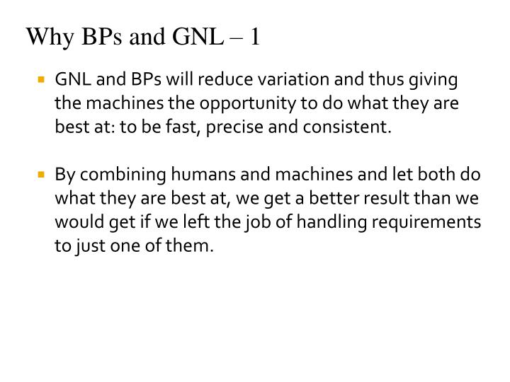 Why BPs and GNL – 1