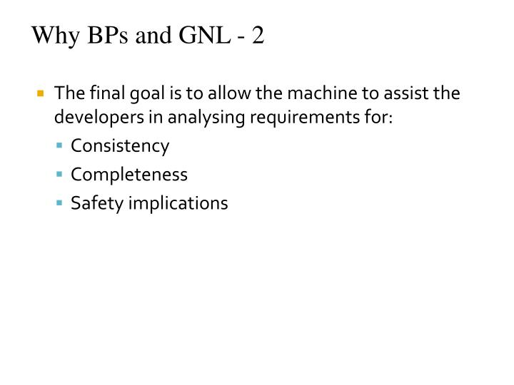 Why BPs and GNL - 2