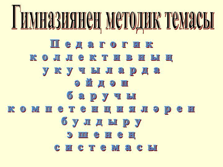 Гимназиянең методик темасы