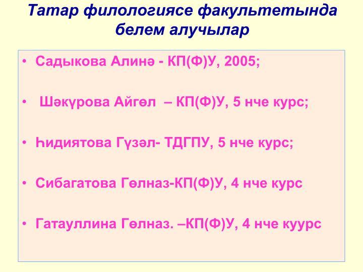 Татар филологиясе факультетында белем алучылар