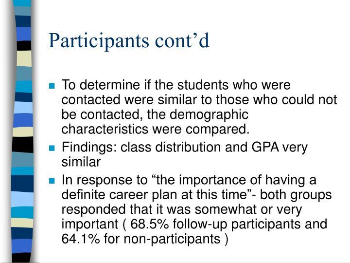Participants cont'd