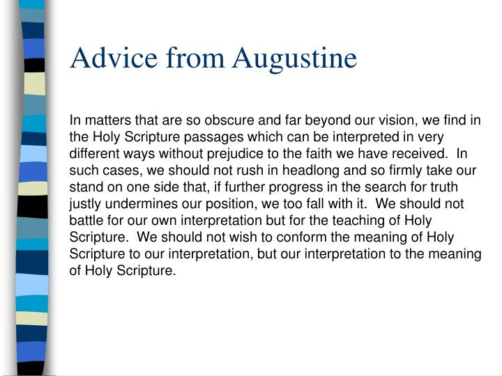 Advice from Augustine