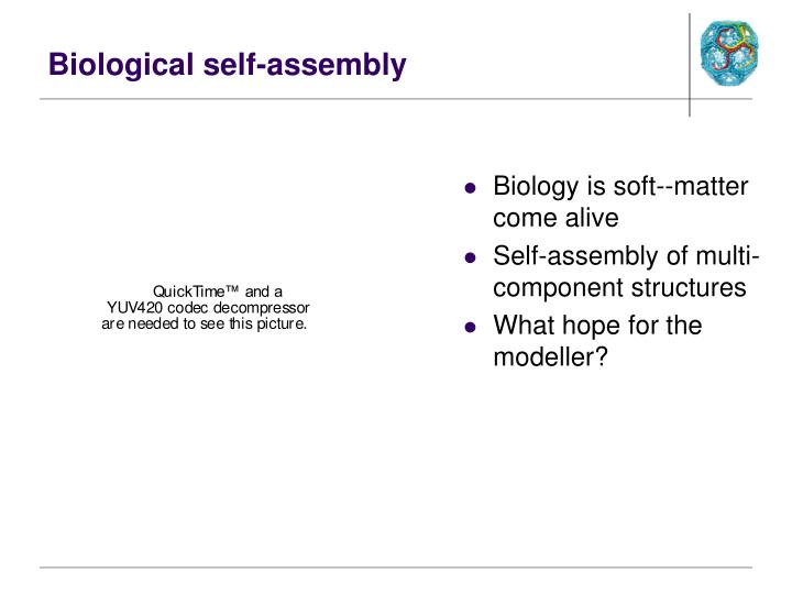 Biological self assembly
