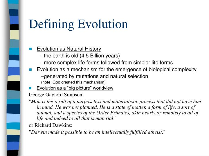Defining Evolution