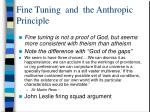 fine tuning and the anthropic principle1