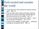 god created and sustains the world
