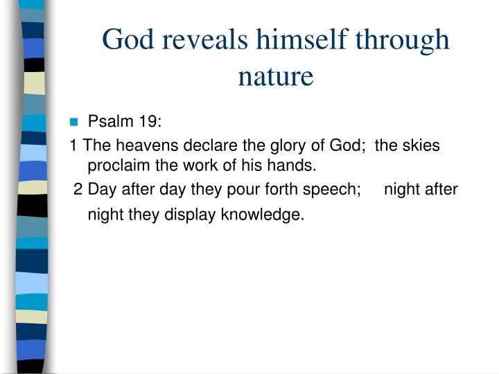 God reveals himself through nature