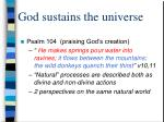 god sustains the universe