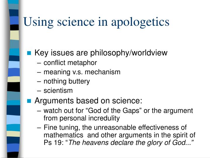 Using science in apologetics
